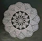 Handmade Crocheted Grey Color Doily Tablecloth Flower Design Round Lace