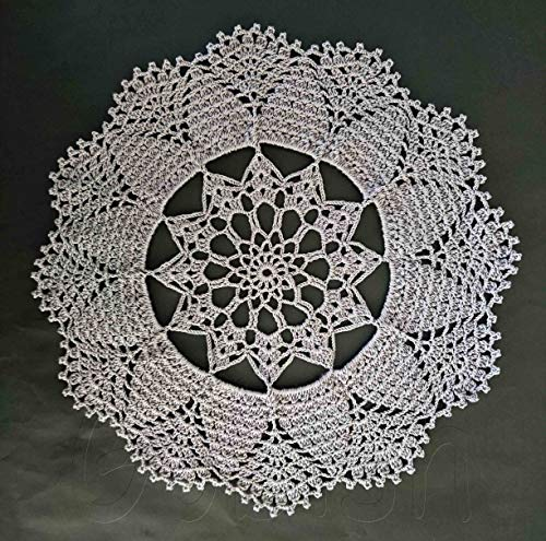 Handmade Crocheted Grey Color Doily Tablecloth Flower Design Round Lace by Gobish