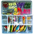 101-Pcs Fishing Lures Kit Set For Bass,Trout,Salmon,Including Spoon Lures ,Soft Plastic worms, CrankBait,Jigs,Topwater Lures (with Free Tackle Box) -by Saimanqiu by Saimanqiu