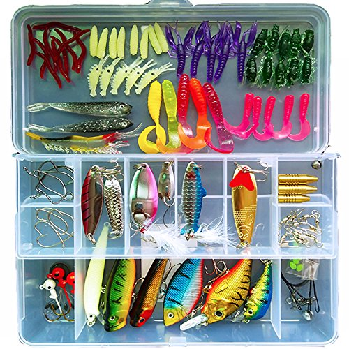 101-Pcs Fishing Lures Kit Set For Bass,Trout,Salmon,Including Spoon Lures ,Soft Plastic worms, CrankBait,Jigs,Topwater Lures (with Free Tackle Box) -by Saimanqiu Review