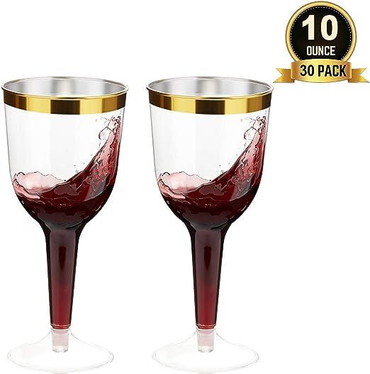 Premium Plastic Disposable Clear Gold Trim Detail Wine Party Glasses//Cups 8pk