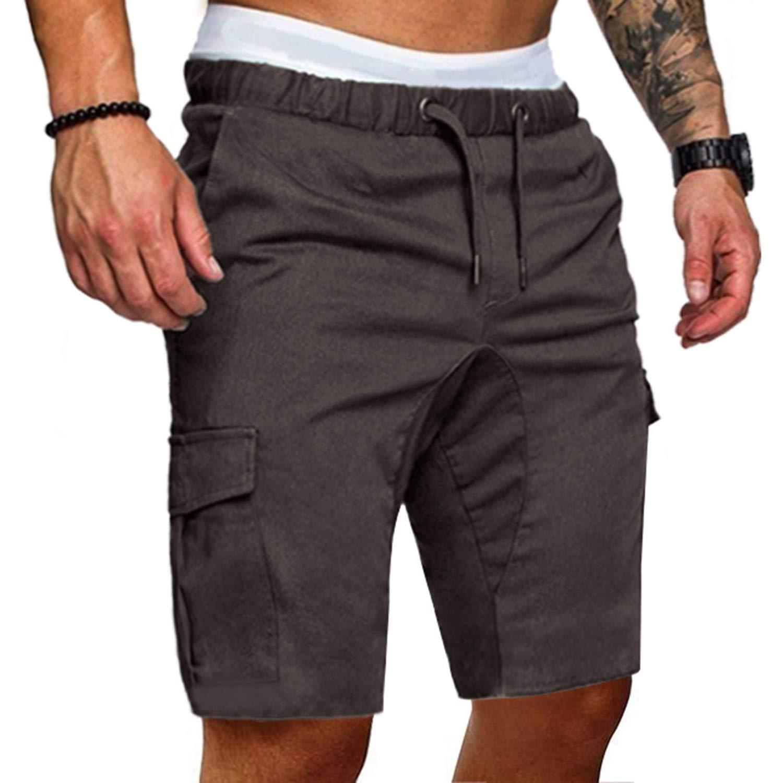 Lishfun Men Cotton Loose Work Casual Short Pants Plus Size Men Casual Elastic Solid Pockets Trousers,Color 3,XL,China