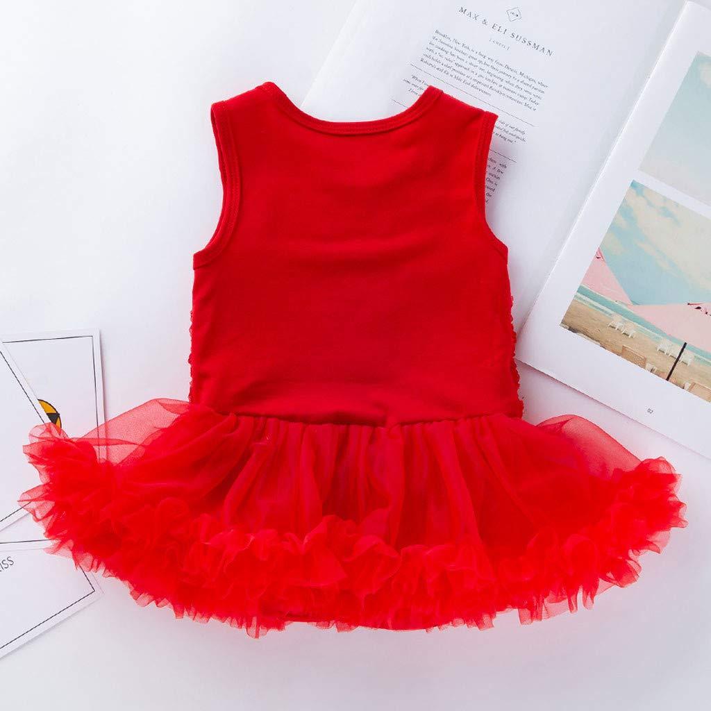 WOCACHI Toddler Baby Girls Dresses 2 PCS Toddler Baby Girls Sleeveless Flower Dress Headband Outfits Set