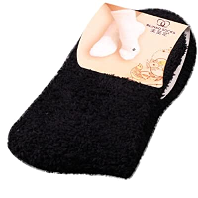 FACAIAFALO Women Girls Warm Winter Soft Bed Floor Socks Fluffy with Pure Color Black: Clothing