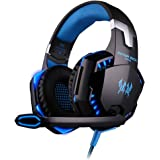 [L'ultima Versione Cuffie Gaming per PS4] KingTop EACH G2000 Cuffie da Gioco con Microfono Stereo Bass LED Luce Regolatore di Volume per PS4 PC Cellulari, Blu e Nero
