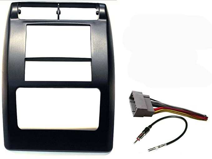 aftermarket double din radio stereo car install dash kit flat black -  complete with wire harness