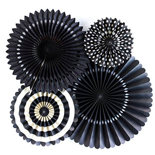 My Mind's Eye Basics Party Fans, Black Color, Set of 4 (Color Schemes For Parties)