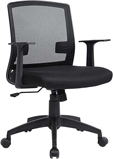 Office Chair Ergnomic Desk Chair Adjustable Computer Chair Executive Mid Back Rolling Swivel Chair with Lumbar Support Armrest Mesh Task Chair for Women Adults, Black
