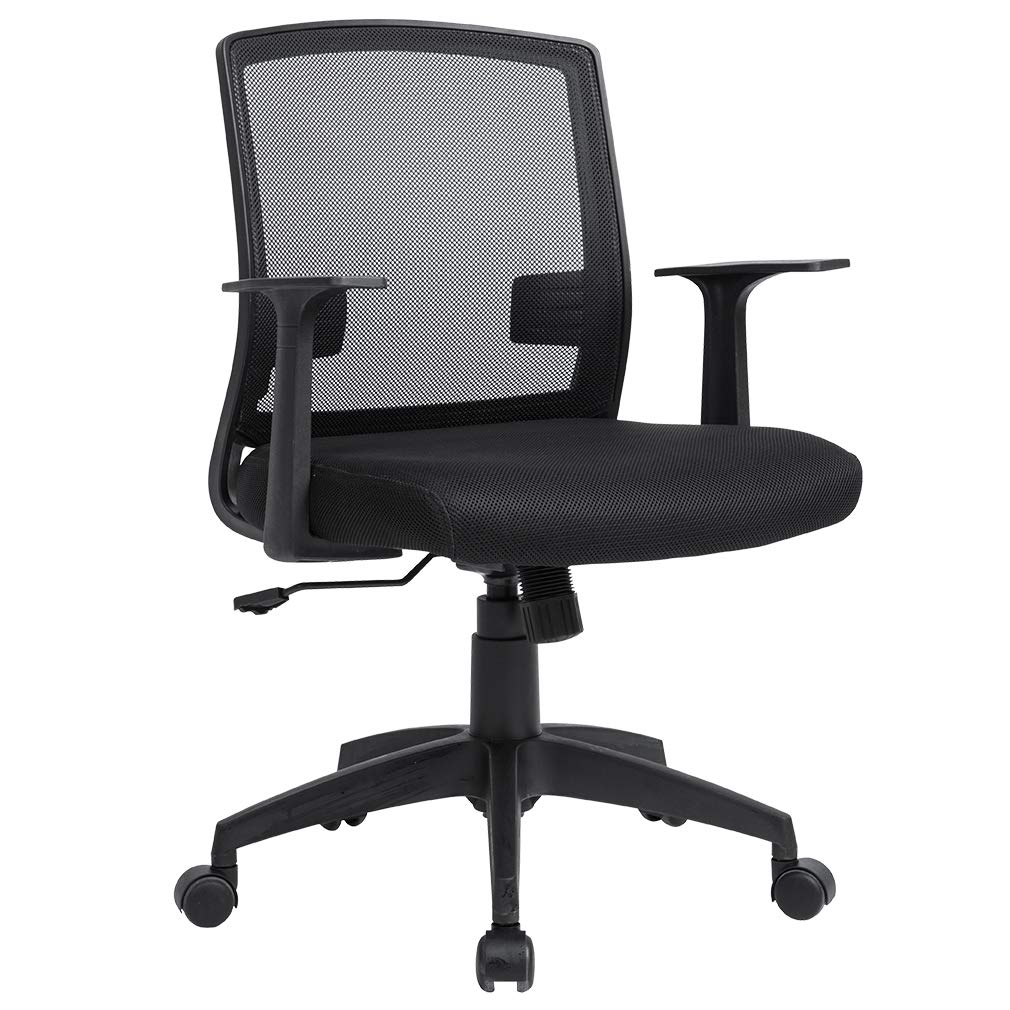 Ergonomic Office Chair Cheap Desk Chair Mesh Computer Chair with Lumbar Support Armrest Modern Swivel Rolling Mid Back Cute Executive Chair for Women Men Adults,Black 1 Pack by BestOffice