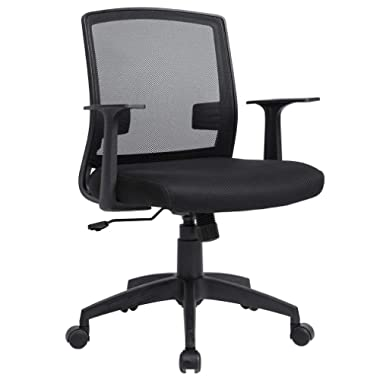 BestMassage Home Office Chair Desk Ergonomic Computer Executive Modern Student Task Adjustable Swivel Wide Cheap Comfortable Mesh Chair with Arms Lumbar Support for Man Women, Black