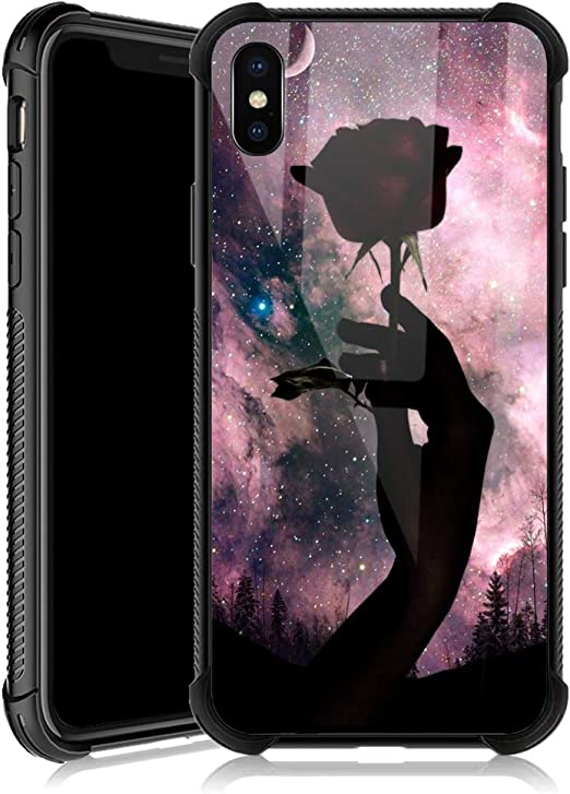 Amazon Com Iphone Xr Case Black Rose Moon Iphone Xr Cases For Girls Tempered Glass Back Cover Anti Scratch Reinforced Corners Soft Tpu Bumper Shockproof Case For Iphone Xr Pink Nebula Delicate And Charming