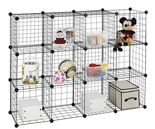 Finnhomy 12 Storage Cubes Multi Use DIY Wire Grid Organizer Closet Organizer Shelf Cabinet Wire Grids Panels Garage Storage Rack Sets Shelving Units for Books/Plants/Toys/Shoes/Clothes Black by Finnhomy