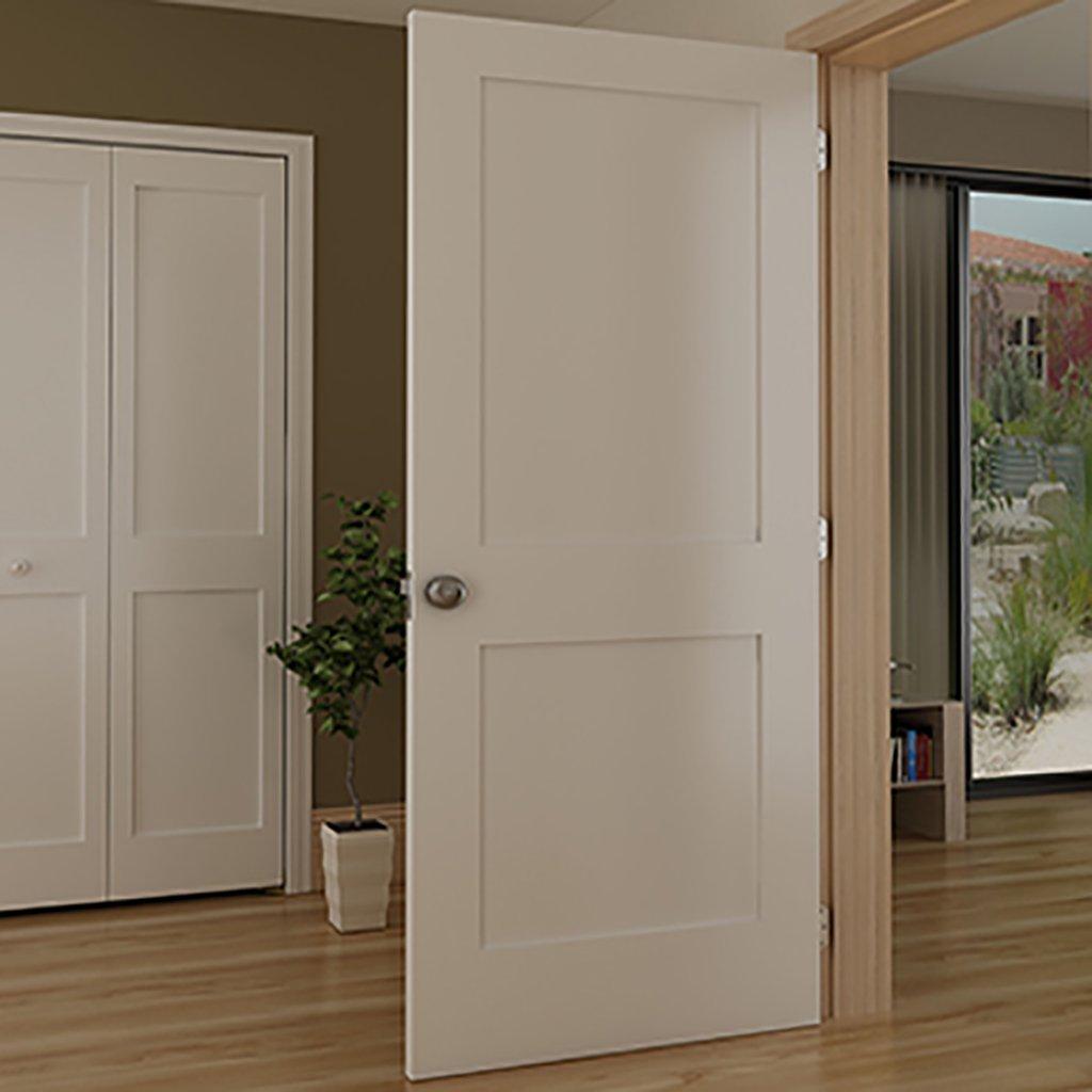 Amazon.com 2-Panel Door White Primed Shaker Solid Wood Core 80 in. x 1-3/8 in. (30x80) Home u0026 Kitchen & Amazon.com: 2-Panel Door White Primed Shaker Solid Wood Core 80 ...