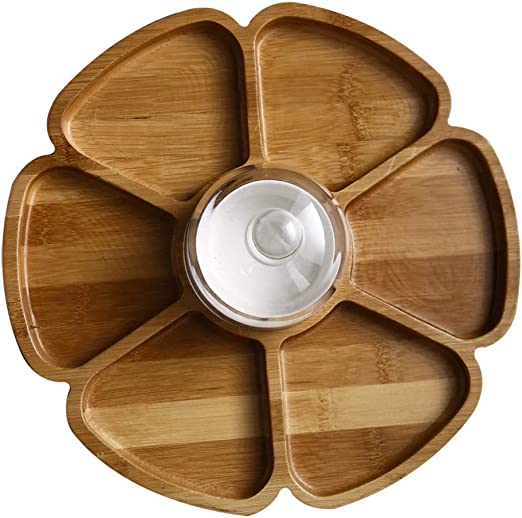 Snack Bowls Bamboo,Chip and Dip Serving Platter,Multi Sectional Snack Serving Tray Set,Six Sections with Ceramic bowl and Glasse Cover,Diameter 11 inch,Petal shape Design