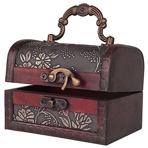 Decorative Vintage Jewelry Treasure Chest Box, Wooden Trinket Box Keepsake Gift Case With (Gift Trinket Box)