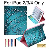 iPad 2/3/4 Case, Dteck(TM) Cartoon Cute Pattern PU Leather Flip Stand Case with [Cards Slots&Money Holder] for Apple the New iPad 4 & 3 with Retina Display / iPad 2 (02 Pear Flower)