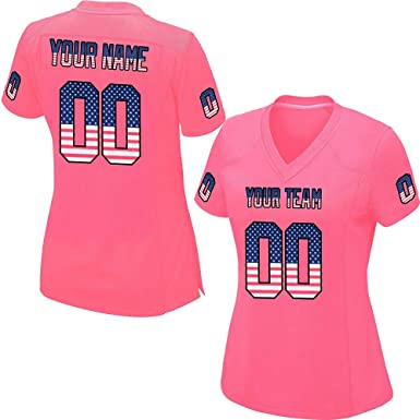 6b8d74a1667 Custom Women's Pink Mesh Football Game Jersey Embroidered Team Name and Your  Numbers,American Flag