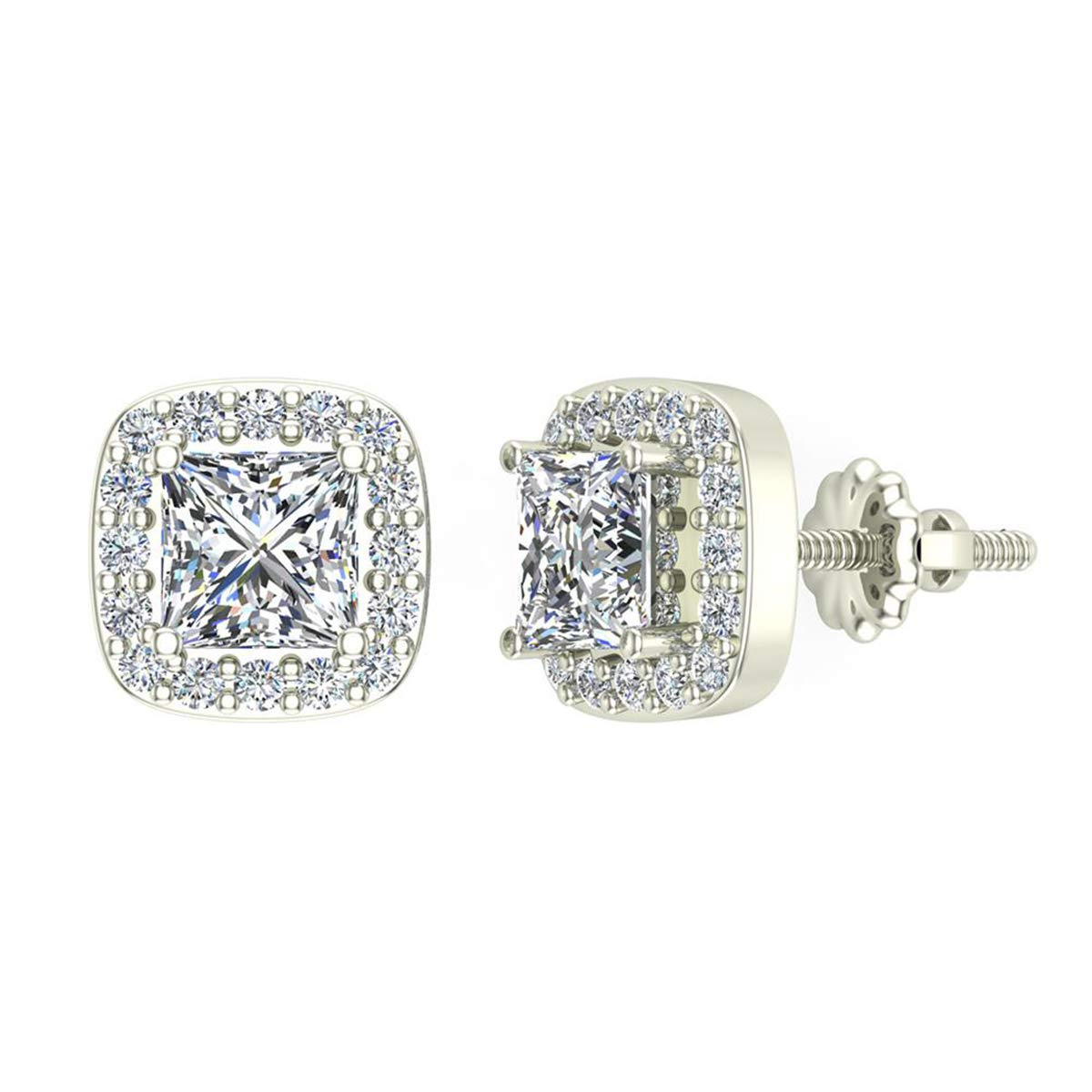 1.30 Ct Princess cut Cushion Style Halo Simulated Diamond Stud Earrings 14K White Gold Over