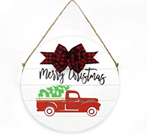 Unistyle Front Door Decor for Christmas, Christmas Decoration for Farmhouse, Front Door Hanger, Wood Wall Decor with car,Farmhouse Welcome Door