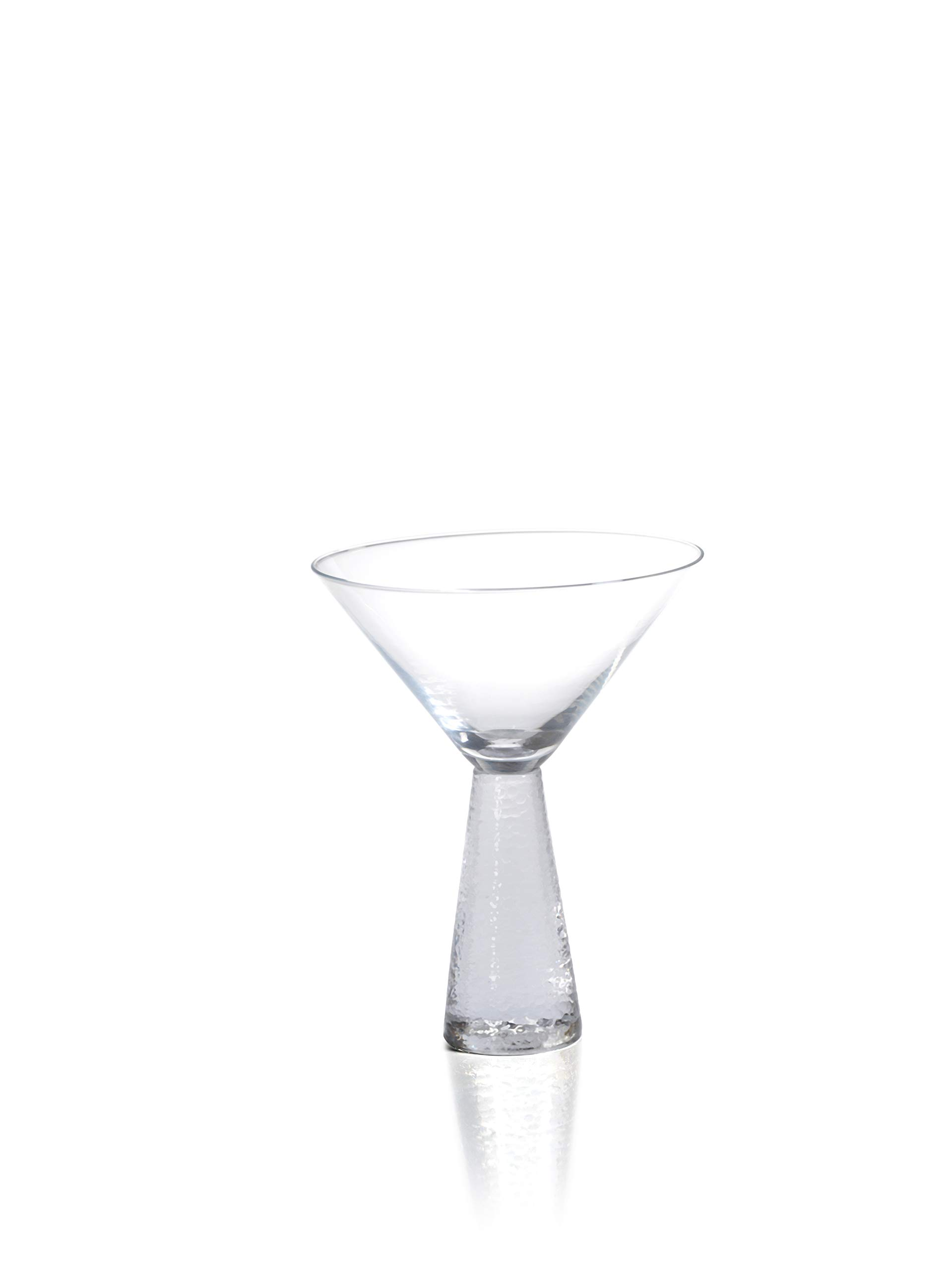 Zodax 6.25'' Tall Livogno Hammered Stem, (Set of 4) Martini Glasses, Clear by Zodax (Image #1)