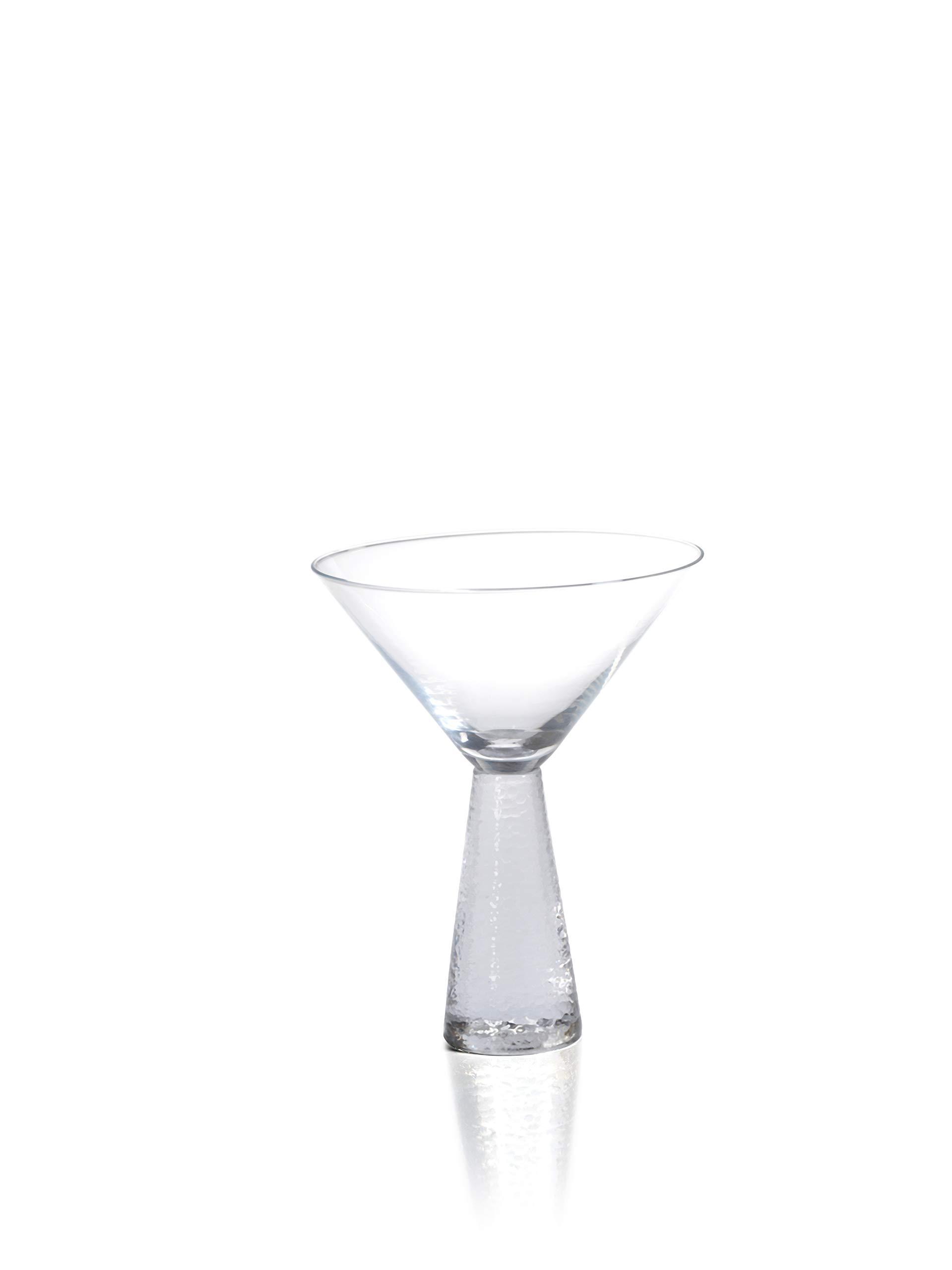 Zodax 6.25'' Tall Livogno Hammered Stem, (Set of 4) Martini Glasses, Clear