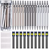 Boao 15 Pieces Metal Mechanical Pencils, 10 Tubes of Lead Refills and 3 Pieces Erasers with Clear Plastic Bottle, 0.7 mm (color set 1 0.7 mm)