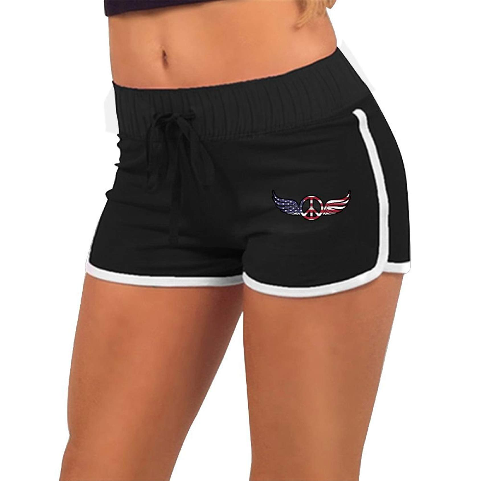 USA Flag Peace Sign,Gym Fitness,Sport Short Pants with,Athletic Elastic Waist Womens Sports Shorts