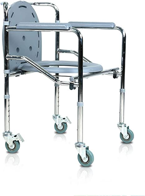 Portable Folding Xyl Mobile Toilet Chair//Shower Chair//Transport Chair Stainless Steel Safety Chair Heavy Weight 500 lbs