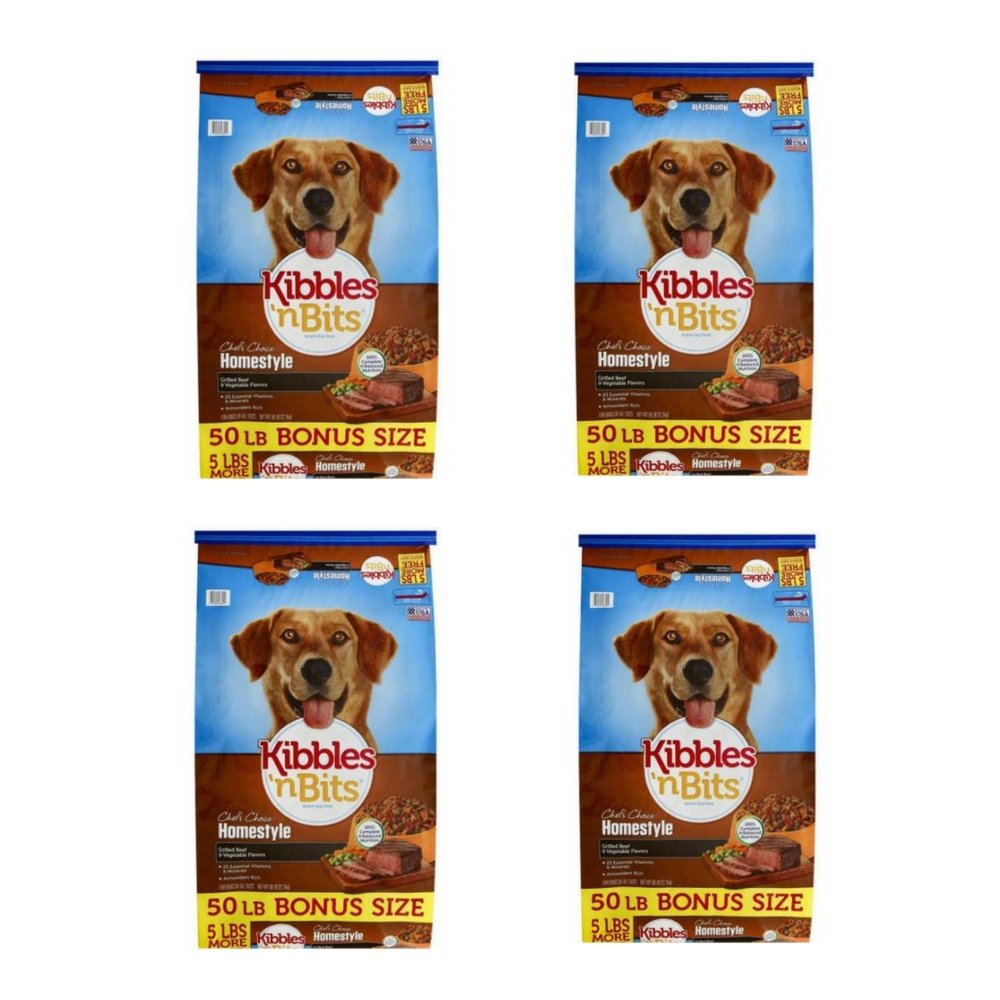 Kibbles 'n Bits 50 lb Homestyle Grilled Beef & Vegetable Flavors Dry Dog Food, Large (4 Pack)