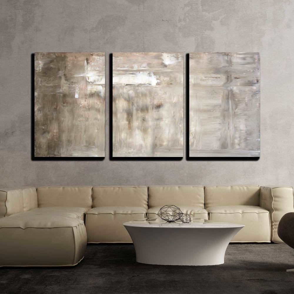 3 Piece Canvas Wall Art - Brown and Beige Abstract Art Painting - Modern Home Art Stretched and Framed Ready to Hang - 16
