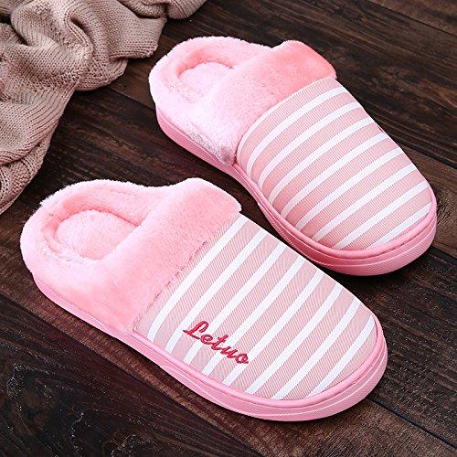 Inverno fankou cotone a strisce di pantofole femmina pacchetto spessa con piscina casa skid impermeabile soft home men, 40/41, rosa