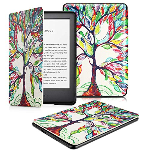 OMOTON All-New Kindle 2019 Case Cover, The Thinnest Lightest PU Leather Smart Shell Cover with Auto Sleep Wake Feature for All New Kindle 10th Generation 2019 Released, Love Tree