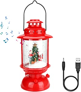 WIOR 22 inch Lighted Water Lantern Glittering Musical Lighted Christmas Snowman USB Operated Snow Globe for Kids, Home Decoration and Gift Snowman Family (Santa)