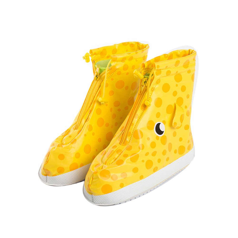 DoMii Kids Rain Boots Adjustable Zippered Shoe Covers Anti-slip Waterproof Thicken Sole Overshoes Galoshes yellow giraffe M