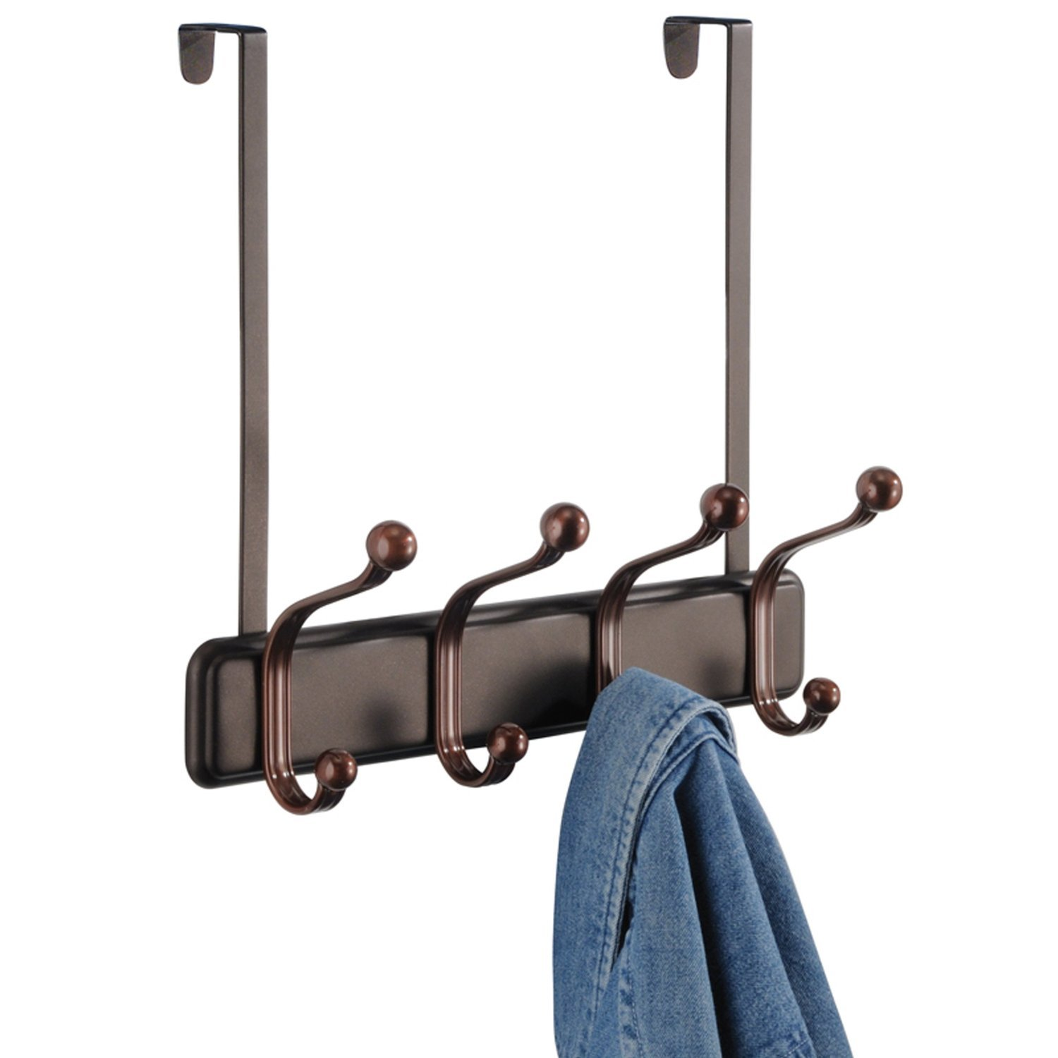 Amazon.com: InterDesign York Over Door Storage Rack U2013 Organizer Hooks For  Coats, Hats, Robes, Clothes Or Towels U2013 4 Dual Hooks, Two Tone Bronze: Home  U0026 ...