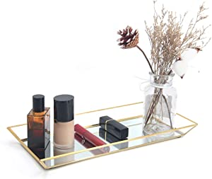 Affogato Mirror Tray Decorative Gold Tray for Jewelry Storage Organizer Makeup Tray for Vanity, Dresser Coffee Table Perfume Bottle Trays Countertop Wedding Home Decor Bathroom - Large