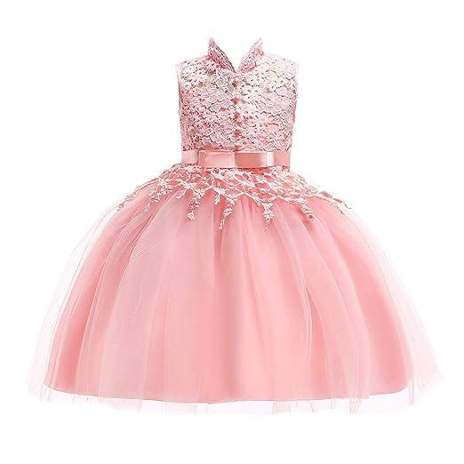 3c32eaf5b Amazon.com: Children Kid Girl Dresses Tutu Sleeveless Lace Flower Print  Princess Pageant Prom Ball Gown 3-7 Years: Clothing