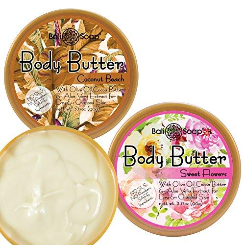Bali Soap - Body Butter, 2 pc Set, 3.1 Oz. each (Coconut Beach & Sweet ()