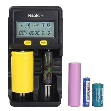 18650 Cargador de batería Universal Miboxer C2 LCD Cargador ...
