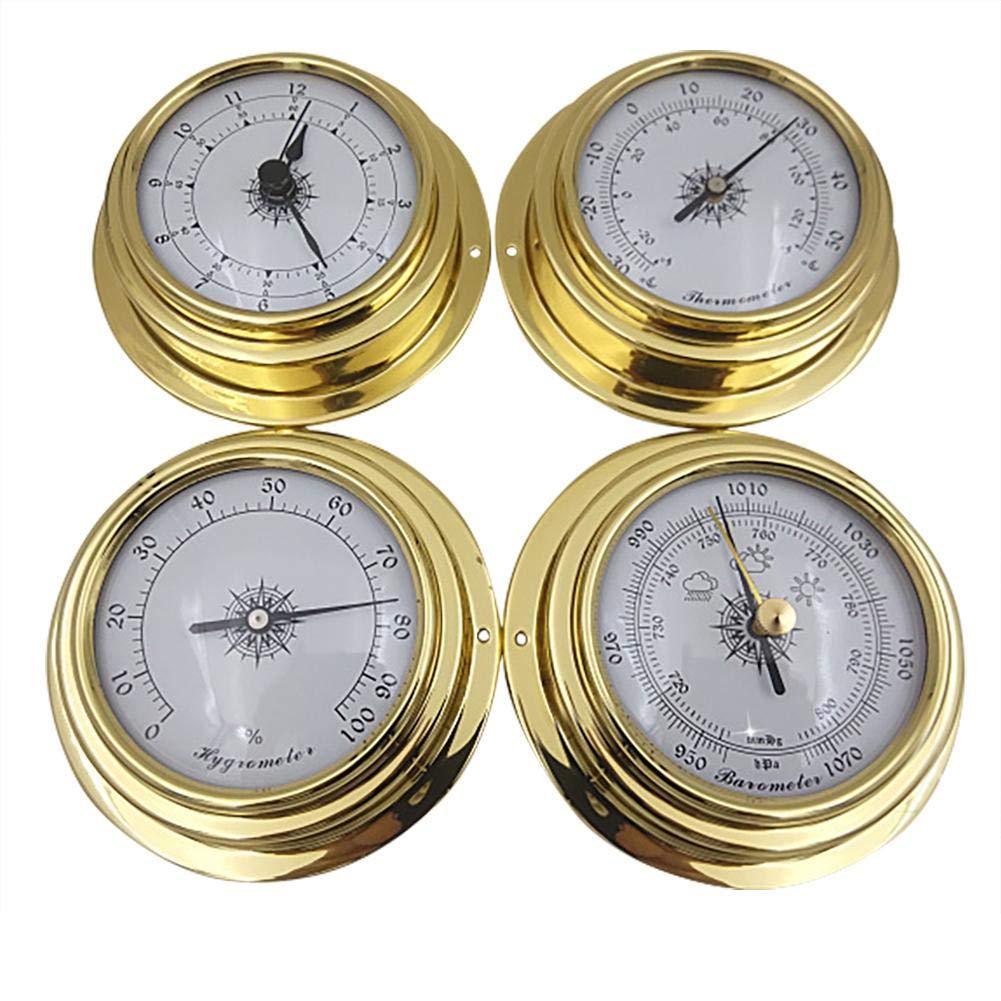 Zagot 4 Pcs Brass Barometer Thermometer Hygrometer for Indoor & Outdoor, 3.8'' by Zagot