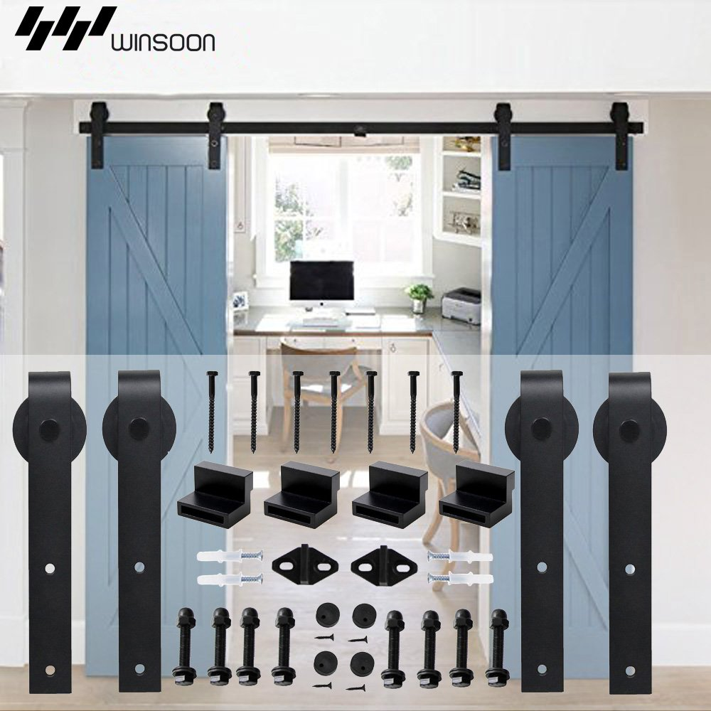 WINSOON 5-18FT Sliding Barn Wood Door Hardware Cabinet Closet Kit Antique Style for Double Doors Black Surface (5FT /60'' 2 Doors Track Kit) by WINSOON