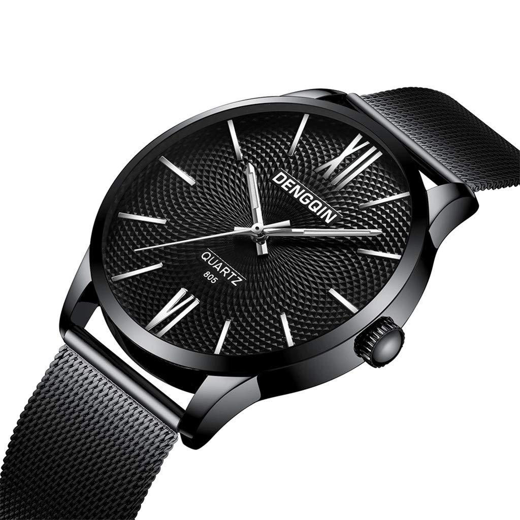 Staron  Men's Watches Luxury Fashion Analog Casual Dress 12-Hour Dial Sport Military Quartz Stainless Steel Dial Wrist Watches for Men Milanese Mesh Band (B)