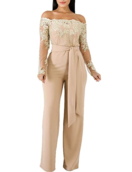 5f488b0751a9 Salimdy Women s Elegant Solid Jumpsuit Wrap Top High Waisted Wide Leg Pants  Jumpsuits Romper with Belt