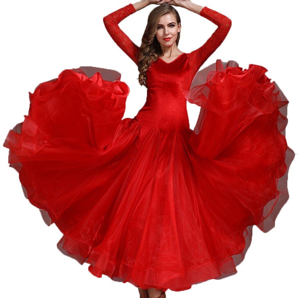 Rouge MoLiYanZi Solide Couleur Simple Valse Tenue de Danse pour Femme La Danse de Salon Costume de Perforhommece XL