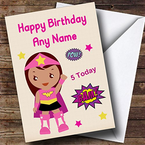 Girl Superheroes Names (Superhero Pink Girl Any Age Personalized Children's Birthday Greetings Card)