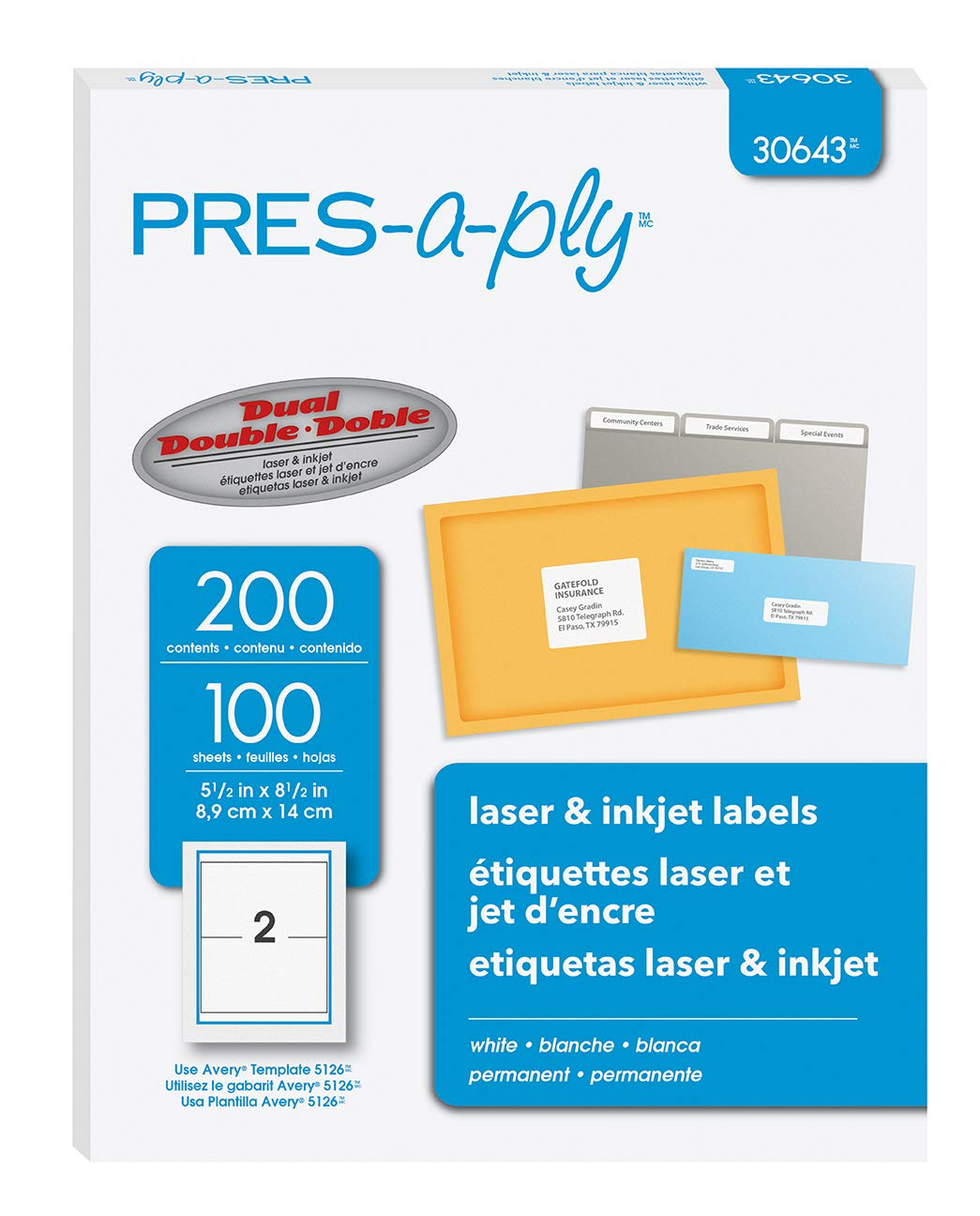 Pres-a-ply Half Sheet Self Adhesive Shipping Labels for Laser & Inkjet  Printers, 200 Count (30643)