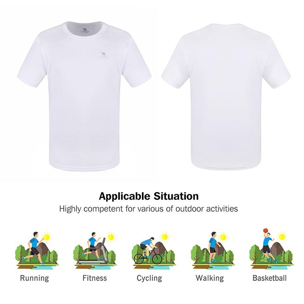 CAMEL CROWN Mens Short Sleeve Plain T-Shirt Vintage Casual Tee Tops for Summer Gym Beach