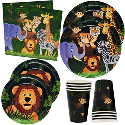Zoo Jungle Animal Party Plates and Napkins for Safari Birthday Supplies Theme Includes 24 9