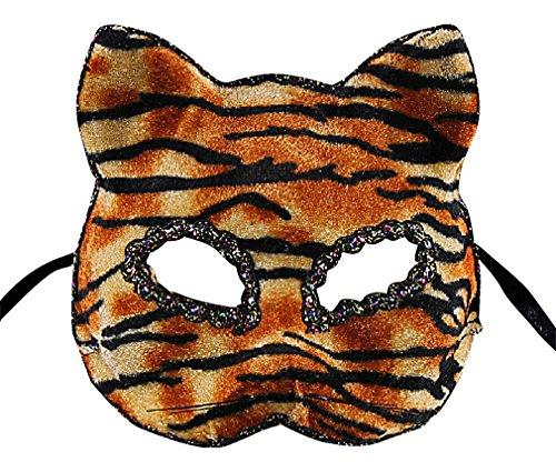 Maze Cute Subtle Cat Head Silhouettes Eclectic Patterns Half Face PVC Masks, 1- One Size ()