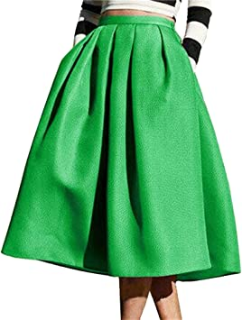 Mujeres Color Solido Vintage Falda Plisada A-Line con Bolsillos ...
